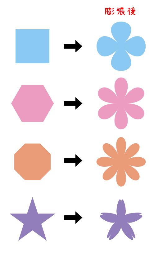 膨張で色んなお花