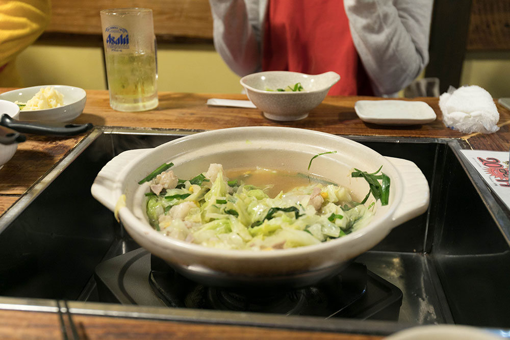 もつ鍋(食べかけ)