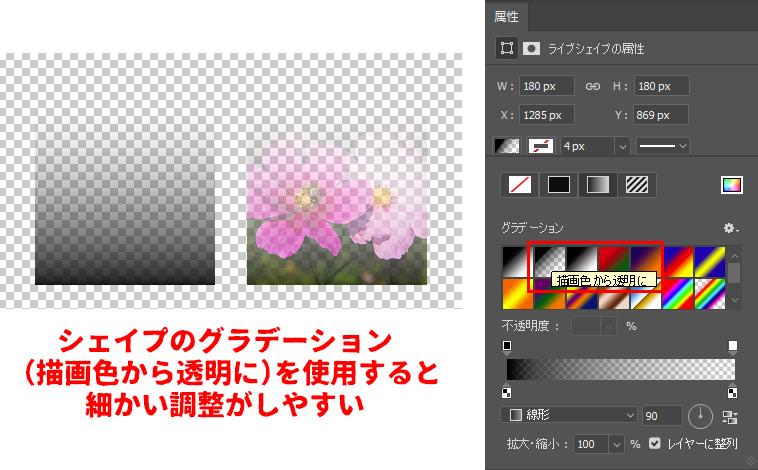 シェイプのグラデーション(描画色から透明に)を使用すると細かい調整がしやすい