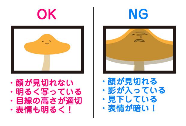 OKの例・顔が見切れていない・明るく写っている・目線の高さが適切・表情が明るい。NG・顔が見切れている・顔に影が入っている・見下しているように写っている・表情が暗い